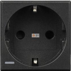 Розетка 1-ая электрическая , с заземлением (безвинтовой зажим), цвет Антрацит, Axolute, Bticino