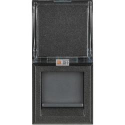 Установочная розетка компьютерная 1-ая кат.6, RJ-45 (интернет) 1 мод, цвет Антрацит, Axolute, Bticino