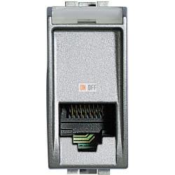 Установочная розетка телефонная 1-ая 4 контакта, RJ-11 1 мод, цвет Алюминий, LivingLight, Bticino
