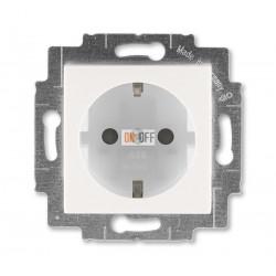 Розетка 1-ая электрическая , с заземлением и защитными шторками (безвинтовой зажим), цвет Серый/Белый, Levit, ABB