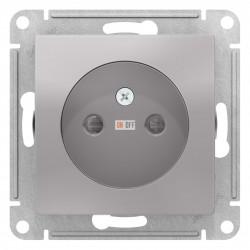 Розетка 1-ая электрическая без заземления с защитными шторками, Алюминий, серия Atlas Design, Schneider Electric