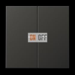 Выключатель 2-клавишный , с подсветкой, цвет Алюминий (металл), LS990, Jung