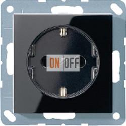 Розетка 1-ая электрическая , с заземлением и защитными шторками (безвинтовой зажим), цвет Черный, A500, Jung
