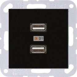 Розетка USB 1-ая (разъем), цвет Черный, A500, Jung
