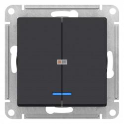 Выключатель 2-клавишный , с подсветкой, Карбон, серия Atlas Design, Schneider Electric