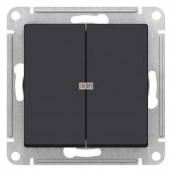 Выключатель 2-клавишный проходной (с двух мест), Карбон, серия Atlas Design, Schneider Electric