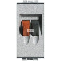 Установочная розетка аудио для колонок 1-ая 1 мод, цвет Алюминий, LivingLight, Bticino