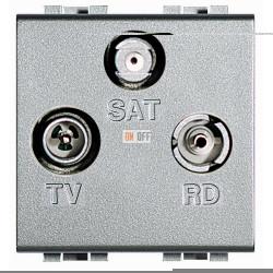 Розетка телевизионная оконечная ТV-FМ-SАТ, цвет Алюминий, LivingLight, Bticino