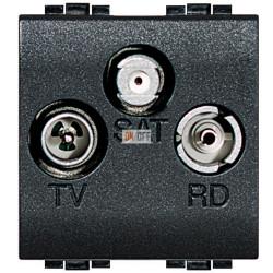 Розетка телевизионная оконечная ТV-FМ-SАТ, цвет Антрацит, LivingLight, Bticino