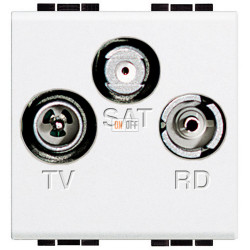 Розетка телевизионная оконечная ТV-FМ-SАТ, цвет Белый, LivingLight, Bticino