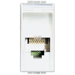 Установочная розетка телефонная 1-ая 4 контакта, RJ-11 1 мод, цвет Белый, LivingLight, Bticino