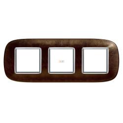 Рамка 3-ая (тройная) эллипс, цвет Кожа Кофе, Axolute, Bticino