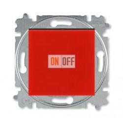 Выключатель 1-клавишный; кнопочный, цвет Красный/Дымчатый черный, Levit, ABB