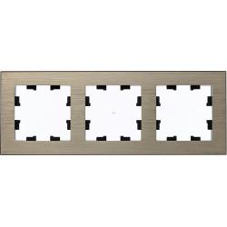 Рамка 3-ая (тройная), Металл Латунь, серия Atlas Design Nature, Schneider Electric