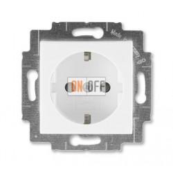 Розетка 1-ая электрическая , с заземлением и защитными шторками (безвинтовой зажим), цвет Белый/Белый, Levit, ABB