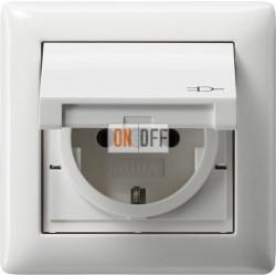 Розетка 1-ая электрическая , с заземлением, крышкой IР44, влагозащищенная, цвет Белый, Gira