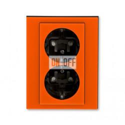 Розетка 2-ая электрическая с заземлением с защитными шторками, цвет Оранжевый/Дымчатый черный, Levit, ABB