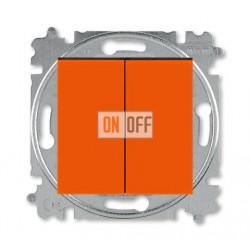Выключатель 2-клавишный проходной (с двух мест), цвет Оранжевый/Дымчатый черный, Levit, ABB