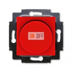 Диммер поворотно-нажимной , 600Вт для ламп накаливания, цвет Красный/Дымчатый черный, Levit, ABB