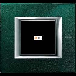Рамка 1-ая (одинарная) прямоугольная, цвет Малахит, Axolute, Bticino