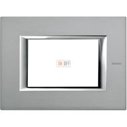 Рамка итальянский стандарт 3 мод прямоугольная, цвет Темное серебро, Axolute, Bticino
