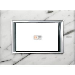 Рамка итальянский стандарт 3 мод прямоугольная, цвет Белый мрамор Каррара, Axolute, Bticino