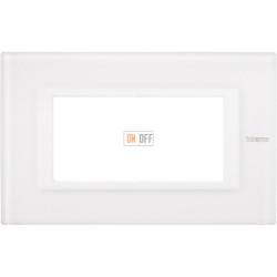 Рамка итальянский стандарт 4 мод прямоугольная, цвет Стекло Белое, Axolute, Bticino