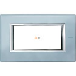 Рамка итальянский стандарт 4 мод прямоугольная, цвет Стекло Голубое, Axolute, Bticino