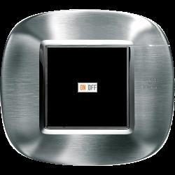 Рамка 1-ая (одинарная) эллипс, цвет Сталь Фактурная (Alessi), Axolute, Bticino