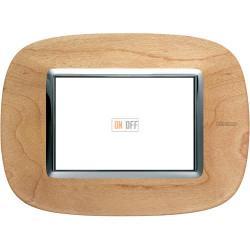Рамка итальянский стандарт 3 мод эллипс, цвет Дерево Клен, Axolute, Bticino