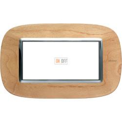 Рамка итальянский стандарт 4 мод эллипс, цвет Дерево Клен, Axolute, Bticino