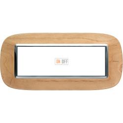 Рамка итальянский стандарт 6 мод эллипс, цвет Дерево Клен, Axolute, Bticino