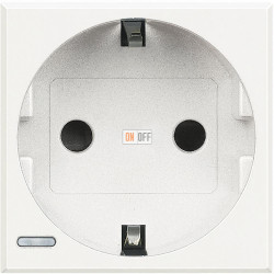 Розетка 1-ая электрическая , с заземлением (винтовой зажим), цвет Белый, Axolute, Bticino