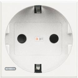 Розетка 1-ая электрическая , с заземлением (безвинтовой зажим), цвет Белый, Axolute, Bticino