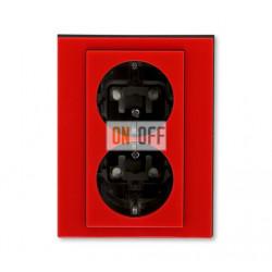 Розетка 2-ая электрическая с заземлением с защитными шторками, цвет Красный/Дымчатый черный, Levit, ABB