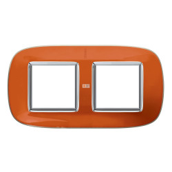 Рамка 2-ая (двойная) эллипс, цвет Апельсиновая карамель, Axolute, Bticino