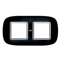 Рамка 2-ая (двойная) эллипс, цвет Роскошный черный, Axolute, Bticino