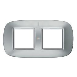Рамка 2-ая (двойная) эллипс, цвет Зеркальный алюминий, Axolute, Bticino