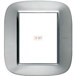 Рамка итальянский стандарт 3+3 мод эллипс, цвет Зеркальный алюминий, Axolute, Bticino