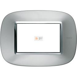 Рамка итальянский стандарт 3 мод эллипс, цвет Зеркальный алюминий, Axolute, Bticino