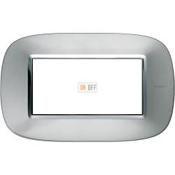 Рамка итальянский стандарт 4 мод эллипс, цвет Зеркальный алюминий, Axolute, Bticino