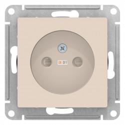Розетка 1-ая электрическая без заземления с защитными шторками, Бежевый, серия Atlas Design, Schneider Electric