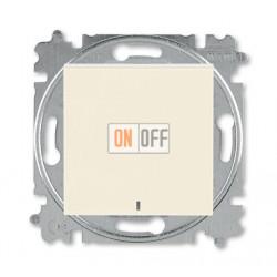 Выключатель 1-клавишный ,проходной с подсветкой (с двух мест), цвет Слоновая кость/Белый, Levit, ABB
