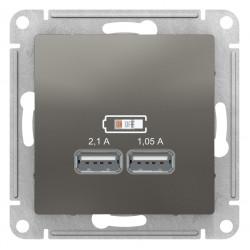 Розетка USB 2-ая 2100 мА (для подзарядки), Сталь, серия Atlas Design, Schneider Electric
