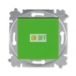 Выключатель 1-клавишный; кнопочный, цвет Зеленый/Дымчатый черный, Levit, ABB