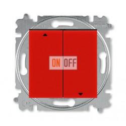 Выключатель для жалюзи (рольставней) кнопочный, цвет Красный/Дымчатый черный, Levit, ABB