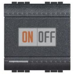 Выключатель 1-клавишный ,проходной с подсветкой (с двух мест), цвет Антрацит, LivingLight, Bticino
