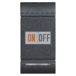 Выключатель 2-клавишный проходной с подсветкой (с двух мест) (винтовые клеммы), цвет Антрацит, LivingLight, Bticino