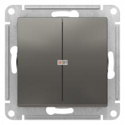 Выключатель 2-клавишный, Сталь, серия Atlas Design, Schneider Electric