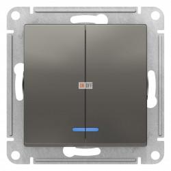 Выключатель 2-клавишный , с подсветкой, Сталь, серия Atlas Design, Schneider Electric